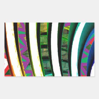 La fusión curva arte gráfico moderno del modelo pegatina rectangular