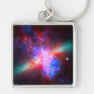 La galaxia activa del cigarro - 82 más sucios llavero cuadrado plateado