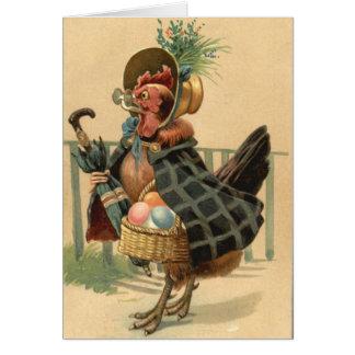 La gallina Pascua coloreó la cesta pintada del Tarjeta De Felicitación