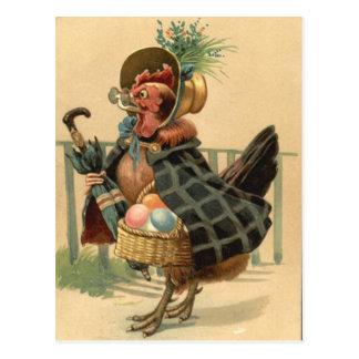 La gallina Pascua coloreó la cesta pintada del Postal