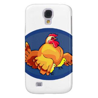 la gallina se va volando hacia fuera dos polluelos