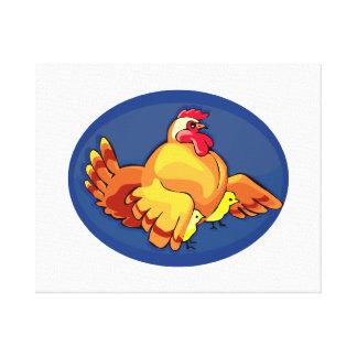 la gallina se va volando hacia fuera dos polluelos impresión en lienzo estirada