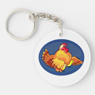 la gallina se va volando hacia fuera dos polluelos llavero redondo acrílico a doble cara