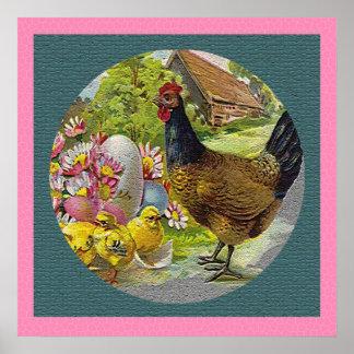 La gallina y los polluelos del vintage de Pascua t Poster