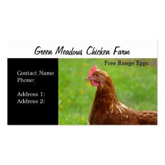 La gama libre de la granja de pollo Eggs tarjetas  Plantillas De Tarjeta De Negocio