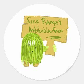 La gama y el antibiótico libres de la aceituna pegatina redonda