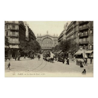 La Gare du Nord Paris, France c1905 Vintage print