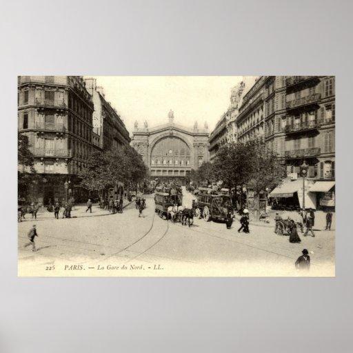 La Gare du Nord vintage de París, Francia c1905 Póster