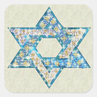 La gema adornó la estrella de David Pegatina Cuadrada