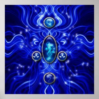 La gema azul encantada del mar impresiones