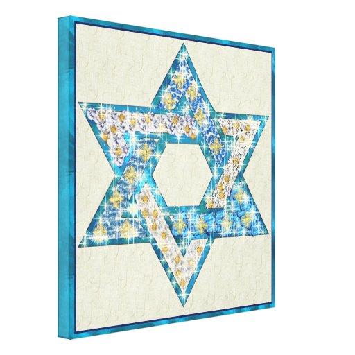 La gema dibujada ratón adornó la estrella de David Impresión En Lona Estirada