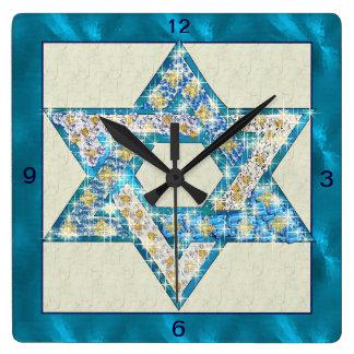 La gema dibujada ratón adornó la estrella de David Reloj Cuadrado