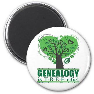 ¡La genealogía es T-R-E-E-rific! Imán Redondo 5 Cm