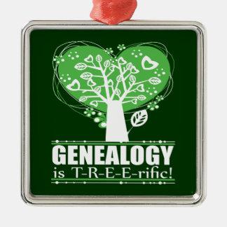 ¡La genealogía es T-R-E-E-rific! Ornamento Adorno Navideño Cuadrado De Metal