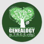 ¡La genealogía es T-R-E-E-rific! Pegatina Redonda