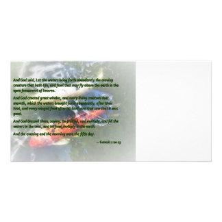 La génesis 1 20-23 y dios dijo, dejó las aguas tarjetas fotograficas personalizadas