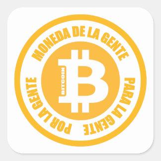 La Gente de Bitcoin Moneda De La Gente Para Gente Pegatina Cuadrada