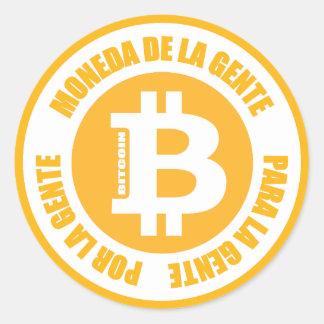 La Gente de Bitcoin Moneda De La Gente Para Gente Pegatina Redonda