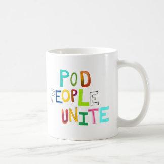 La gente de la vaina une palabras únicas coloridas taza clásica