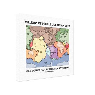 La gente de millones vive en la tectónica de impresion de lienzo