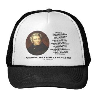 La gente del gobierno de Andrew Jackson defendiend Gorra