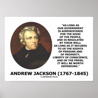 La gente del gobierno de Andrew Jackson defendiend Poster