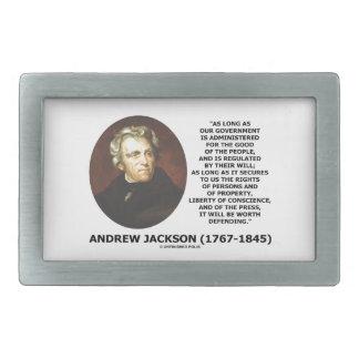 La gente del gobierno de Andrew Jackson Hebilla De Cinturon Rectangular
