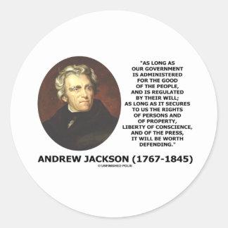 La gente del gobierno de Andrew Jackson Pegatina Redonda