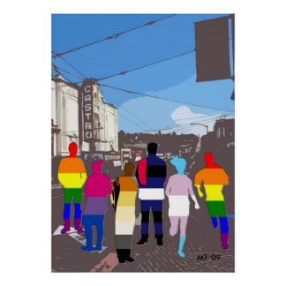 La gente del orgullo de GLBT en el arte de Castro  Posters