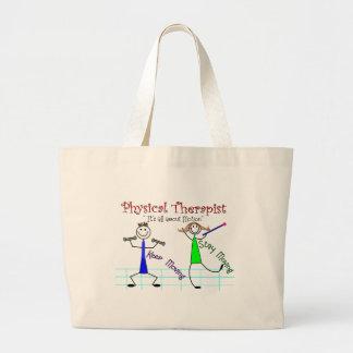"La gente del palillo del terapeuta físico ""guarda  bolsas"