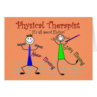 """La gente del palillo del terapeuta físico """"guarda  tarjeta de felicitación"""