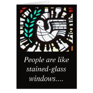 La gente es tarjeta tenida gusto del vitral