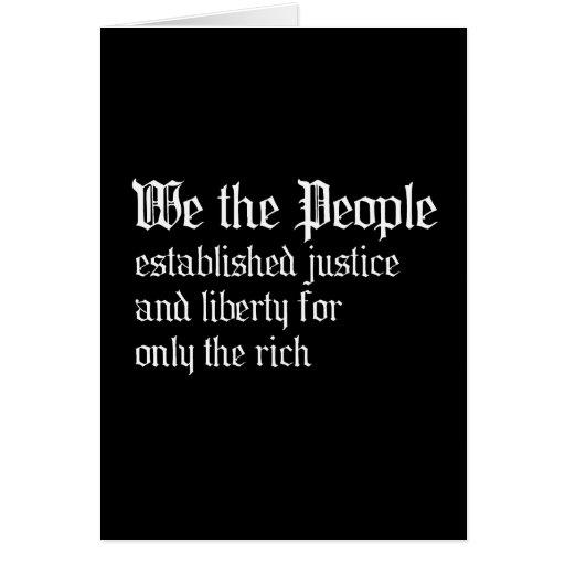 La gente establecemos la justicia y la libertad pa tarjeta de felicitación