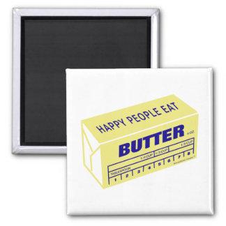 La gente feliz come la mantequilla (azul) imán cuadrado