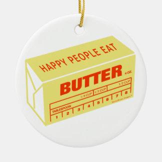 La gente feliz come la mantequilla (roja) adorno navideño redondo de cerámica