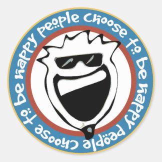 La gente feliz elige ser feliz pegatina redonda