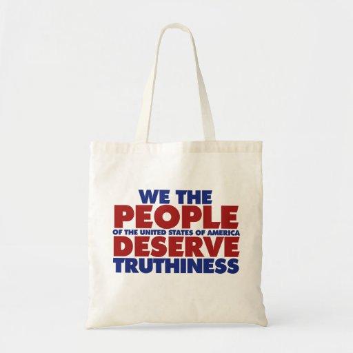 La gente merecemos truthiness bolsa tela barata