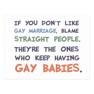 La gente recta está teniendo bebés gay tarjeta postal