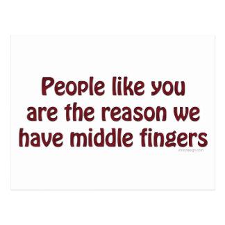 La gente tiene gusto de usted los dedos tarjeta postal