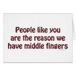 La gente tiene gusto de usted los dedos tarjetón
