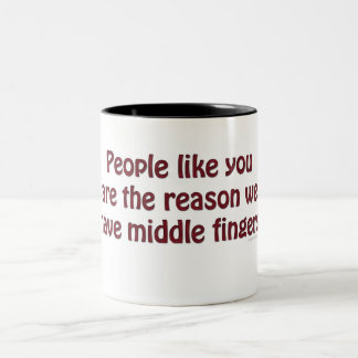 La gente tiene gusto de usted los dedos taza de café de dos colores