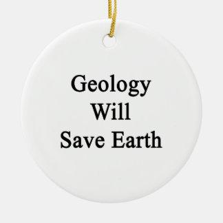 La geología ahorrará la tierra adorno redondo de cerámica