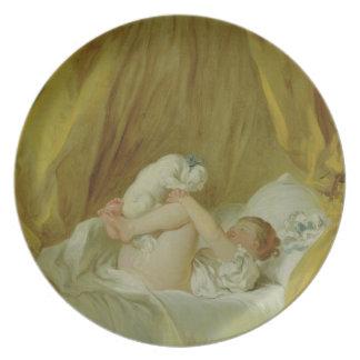 'La Gimblette', Girl with a Dog, c.1770 (oil on ca Dinner Plates