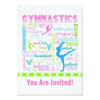 """La gimnasia en colores pastel personalizada invitación 5"""" x 7"""""""