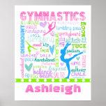 La gimnasia en colores pastel personalizada póster