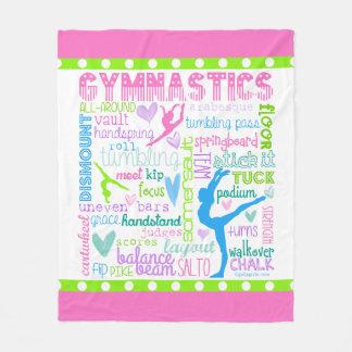 La gimnasia en colores pastel redacta tipografía manta de forro polar