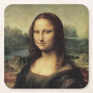 La Gioconda de Mona Lisa de Leonardo da Vinci Posavasos De Cartón Cuadrado