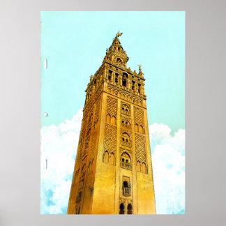 La Giralda de Sevilla - fondo del Don Quijote Póster