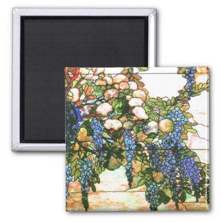 La glicinia del vitral de Tiffany florece floral Imán Cuadrado