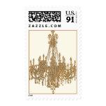 La Gold Chandelier Design by Paulette Kinney Postage Stamp